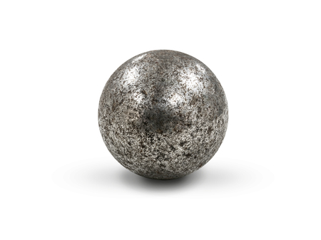 rust metal steel sphere, isolated on white included clipping path
