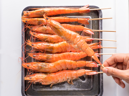 close up shot on shrimp on white background, the source of protein in nature Stock Photo
