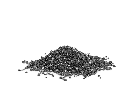black Silicon Carbide, Grit Abrasives powder for industry use, on white background