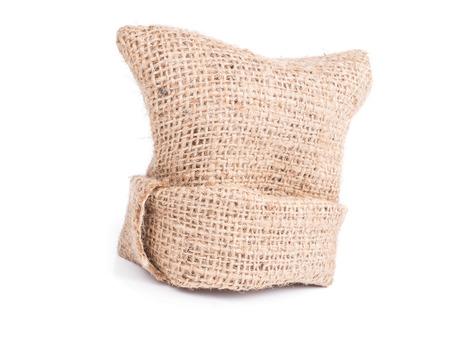 Sack Stofftasche auf weißem Hintergrund, Fine natürliche Zeichenfolge Detail texturierte Textile Kulisse,