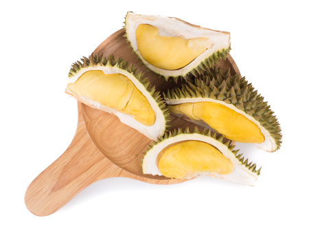 close up shot on durian, sweet king of fruits on wooden background,  vegetable for diet with nutrition ingredient concept.