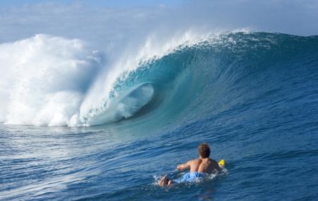 surfer: Teahupoo, Tahiti, empty wave Stock Photo
