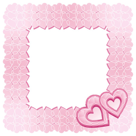 A patterned square frame of two pink diamond hearts  Vector