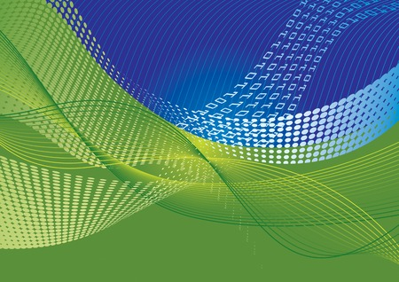 Data transfer abstract background with halftone effect and waves  Vector