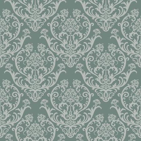 amazing wallpaper: Senza saldatura verde floreale damascate wallpaper Vettoriali