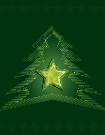 Jewelled star surrounded by outlined Christmas tree on dark green background Stock Vector - 5678956
