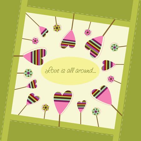 Vierkant frame en hartvormige bomen rondom 'love is all around ...' tekst Stock Illustratie