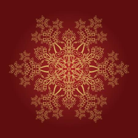 Enkele gedetailleerde gouden sneeuwvlok op rode achtergrond