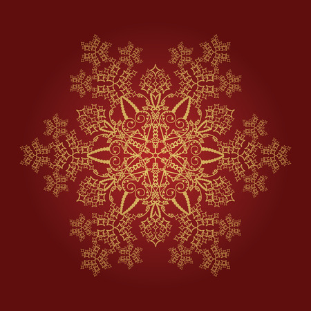 Single detailed golden snowflake on red background