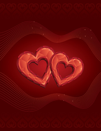 Two jewelled hearts on dark red patterned background Vector