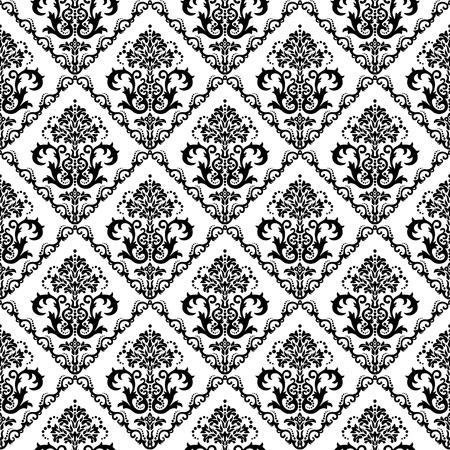 Naadloze zwarte & witte bloemen ademd behang