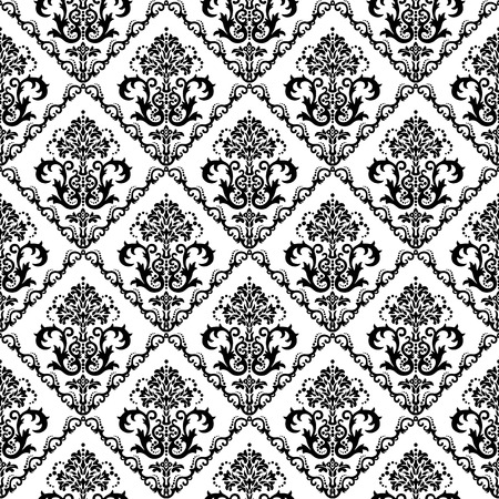 Seamless black & white floral damask wallpaper