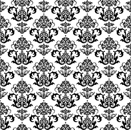 Seamless black and white floral damask wallpaper