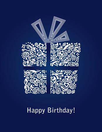 Detallada tarjeta azul de feliz cumpleaños Ilustración de vector