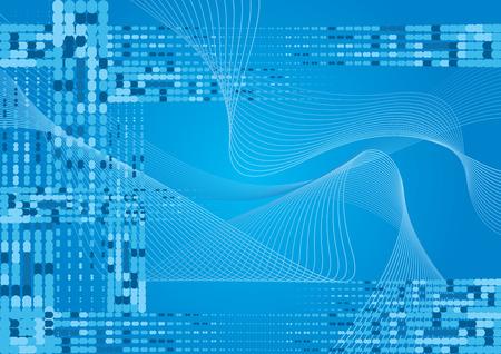 Blauwe golvende vector achtergrond met halftonen effect