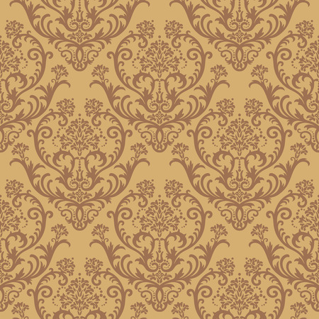 Seamless brown floral damask wallpaper Vector