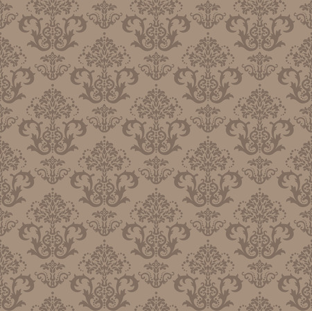 Seamless brown floral damask wallpaper Stock Vector - 5914787