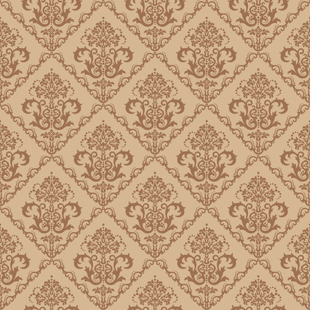 neutral: Seamless brown floral damask wallpaper
