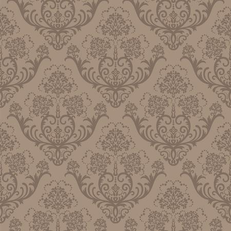 Naadloze bruine bloemen damast Wall paper
