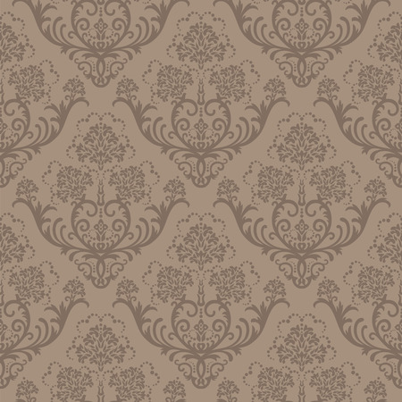 Seamless brown floral damask wallpaper