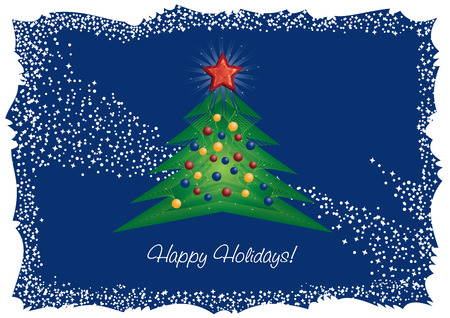 Christmas tree and red diamond star greeting card Vector