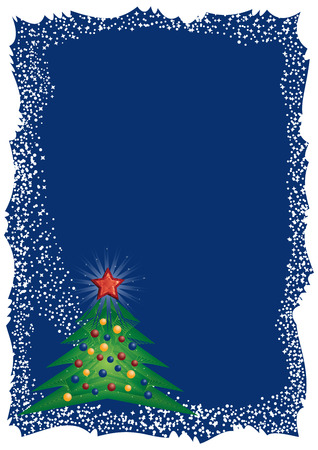 Icy Christmas tree frame on blue background Vector