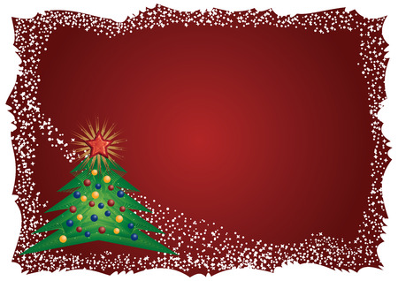Frosty Christmas tree frame on red background Vector