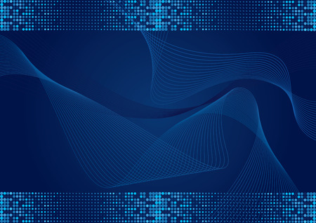 Dark blue abstract wavy background with halftone effect Vector