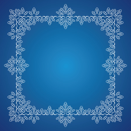 Detailed white frosty Christmas frame on blue background Vector