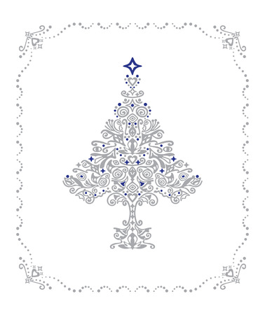 old fashioned: Detailed silver Christmas tree ornament in a frame Illustration