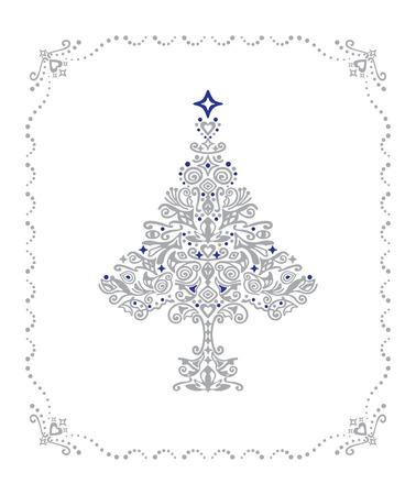 Gedetailleerde zilver Kerst boom ornament in een frame