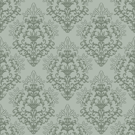 antique wallpaper: Seamless fern green floral wallpaper or wrapping paper