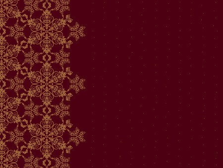 Golden snowflake border on burgundy background Illustration