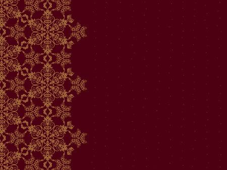 Golden snowflake border op burgundy achtergrond