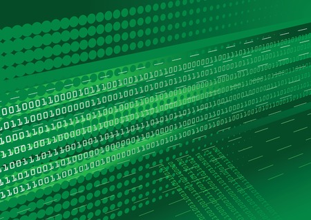 Dark green binary code abstract background with halftone effect