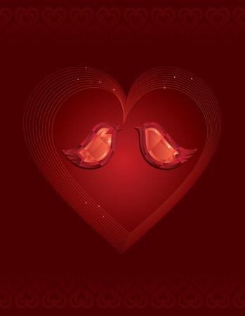 Jewelled love birds Vector