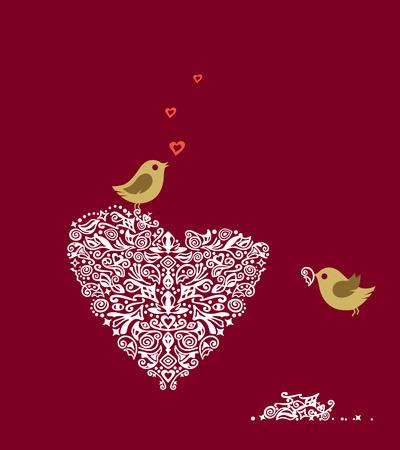 Liefde vogels maken hun nesten hart en zang  Stock Illustratie
