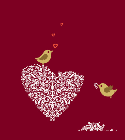 Love birds making their heart nest and singing Vector