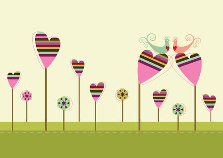 Liefde vogels zittend op het hart gevormde bomen in de tuin van de liefde  Stock Illustratie