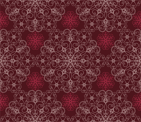 Detailed Maroon Floral Pattern Vector