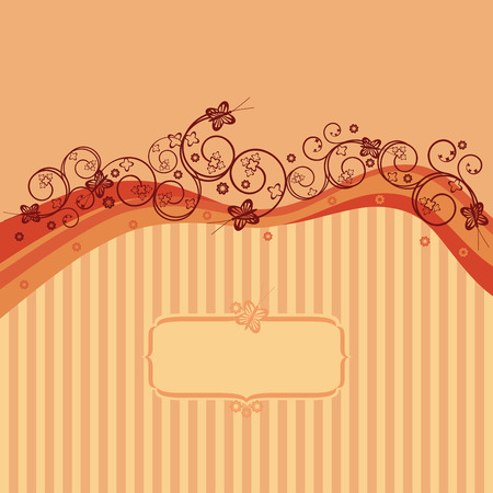 Orange waves, swirls and butterflies card Vector