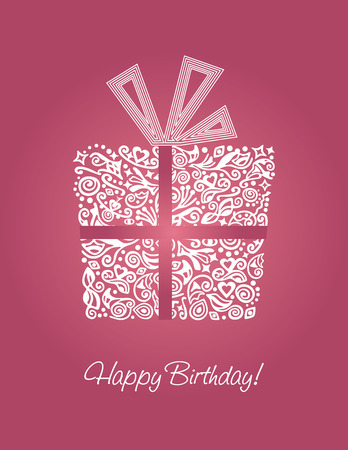 Pink detailed Happy Birthday card Illustration
