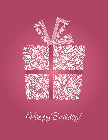 Roze gedetailleerde Happy Birthday card  Stock Illustratie
