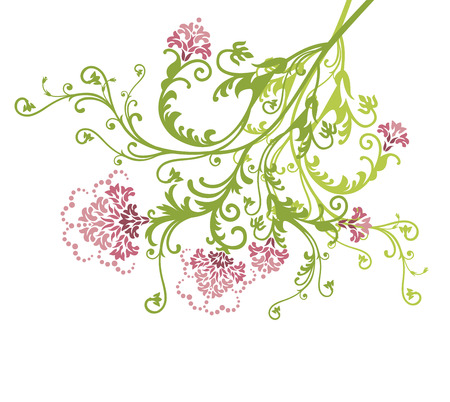 Pink vector flowers on white background