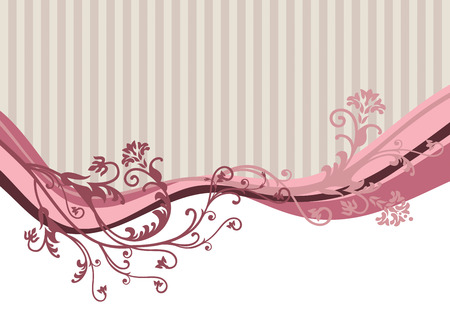 striped: Pink vector flowers on striped background