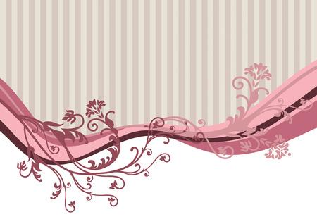 paper curl: Vector Rosa flores sobre fondo de rayas Vectores