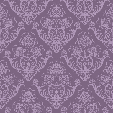 Seamless purple floral damask wallpaper Vector