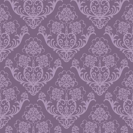 Seamless purple floral damask wallpaper Stock Vector - 5914796