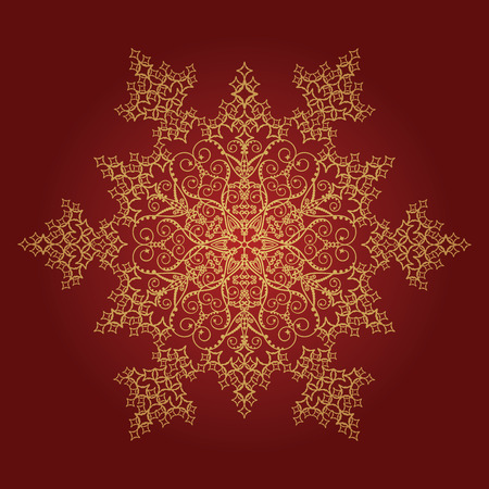 Golden detailed snowflake on red background Vector