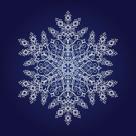 Enkele gedetailleerde sneeuwvlok op donker blauwe achtergrond